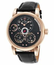 Lucien Piccard 15071-Rg-01 Cosmos Automatic Black Genuine Leather Watch ,New