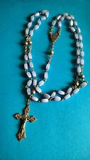 Vintage Chapelet Bleu Ciel Croix / Rosary