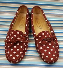 TOD'S MADE IN ITALY BURGUNDY SUEDE POLKA DOT LOAFERS SLIP ON WOMENS SHOES 7.5