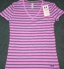 NWT Womens Under Armour S Lavender/Navy Stripe Fitted Charged Cotton Shirt Small