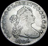 1806 Draped Bust Half Dollar Silver ---- NICE Pointed 6 No Stems ----#B049