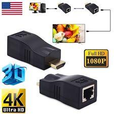 4K 3D HDMI 2.0 30M Extender to RJ45 Over Cat 5e/6 Network LAN Ethernet Adapter