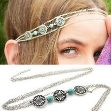 Fashion Women's Turquoise Head Chain Hair Band Metal Hair Accessories Jewelry