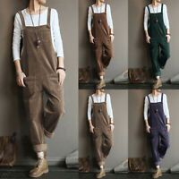 ZANZEA Womens Corduroy Overalls Casual Loose Dungarees Baggy Playsuits Jumpsuits