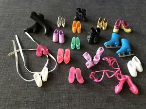 Vintage Mixed Lot Pair Barbie Doll Style Shoes Boots Heels 17 Pairs