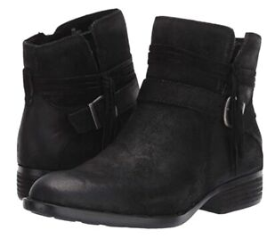 NEW Born Osha Black Suede Distressed Women's Ankle Booties Sz 8.5 M