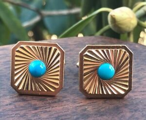 Vintage Gold Metal Cuff Links Small Faux Turquoise Stones