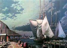 John Stobart Print - Gloucester: Drying Sails Under a Full Moon c. 1910