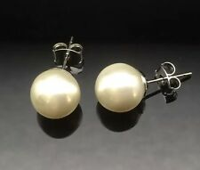 White Cream PEARL STUD 12mm LARGE Silver Earring Allergy Free Wedding Formal