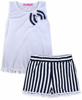 Girls T-shirt and Shorts Set Summer 2 Piece Cotton Outfit Kids Age 2 - 12 Years