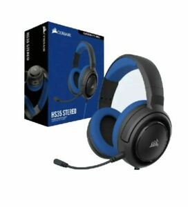 New Corsair HS35 Wired Stereo Gaming Headset, Memory Foam. w/Microphone - Blue