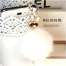 3.5mm Bunny White Rex Rabbit Fur Ball Anti-Dust Cap Plug For Smart PhonePendant