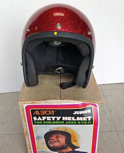 Vintage ALL SPORT Youth MED Motorcycle Helmet w/Box Made in USA Red Glitter NOS
