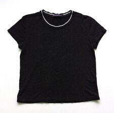 Brandy Melville Womens Top T-Shirt Short Sleeve Black Contrast Trim Sz S/M Italy
