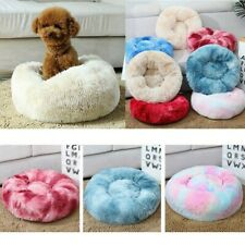 Pet Dog Cat Donut Plush Bed Fluffy Soft Warm Calming Bed Sleeping Kennel Nest