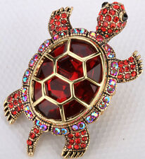 Big turtle stretch ring animal bling scarf jewelry gifts for women 5 gold red