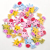 AU_ JN_ 50Pcs Lovely Giraffe Wooden Buttons Sewing Scrapbooking Handicraft DIY