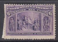 """USA MINT OG Scott #235  6 cent purple """"Columbian Exposition"""""""