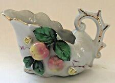 Vintage Ceramic Gravy Boat Sauce Pourer Creamer Apple Tree Blossoms Fruit JAPAN