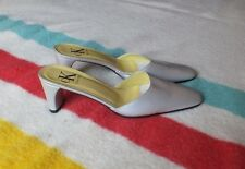 Women's Calvin Klein Mules Silver Gray Leather Sz 7.5 M Exc Cond Made in Italy