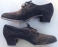 Vintage Daniels Professional Black Suede Hi Heel Size 10 AA - Original 1930-40