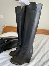 NIB Chanel Black Chain wedge Boots size 37