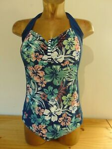 Joe Browns Navy Floral Halter Neck Swimsuit Plus Size UK 28 New with Tags