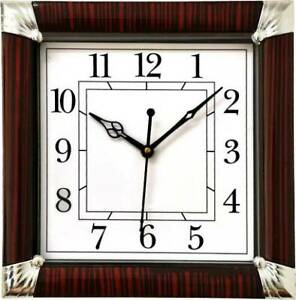 Wall Clock Large Living Room Decoration Red White With Glass Analog 25 cm