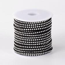 2 metres  Cordon suédine clouté argent 3 mm de largeur  coloris noir