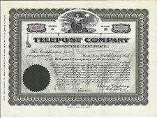 Pennsylvania 1911 Telepost Company Stock Certificate Telegrams