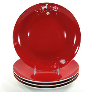 "Studio Tord Boontje RATHER RED 11"" Dinner Plate Set 4Pc White Reindeer Target"