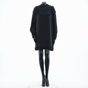 FENDI 3380$ Crêpe De Chine Dress With Ruffles In Black Silk