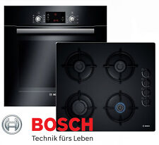Gas Herdset Einbau BOSCH Elektro Backofen Schwarz + GAS Glaskeramik Kochfeld NEU