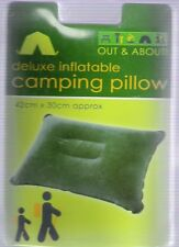 Out & About Deluxe Inflatable Green Camping Pillow Festival/Outdoors/Holiday/NEW
