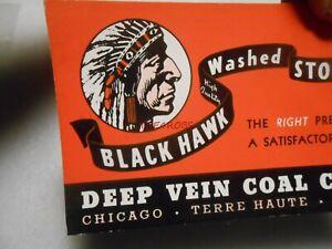 Vintage Deep Vein Coal Co Black Hawk Stoker Coal Ink Blotter