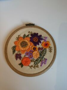 4 Inch Purple And Orange Farmhouse Embroidery Wall Hanging Cottagecore