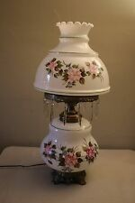 Vintage White Milk Glass Hand Painted Hurricane Style Parlor Lamp W/ Glass Prism