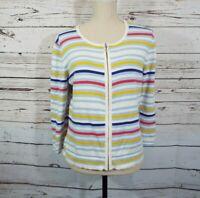 Orvis Crew Neck Zipper Close Long Sleeve Womens Medium Cardigan Sweater