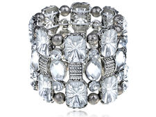 VintageTone Mosiac Crystal Gem Bead Detailed Gypsy Elastic Bracelet Cuff Bangle