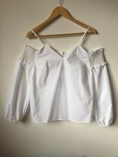 White 100% Cotton Blouse UK10 Eur38 Cold Shoulder Long Sleeve Holiday Look