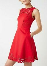 NEW + TAGS * TED BAKER * RED 'VERONY' EMBROIDERED SKATER DRESS SIZE 10 RRP £159