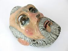 Vtg Guatemalan Hand Carved Wooden Moro Dance Mask W Realistic Glass Eyes