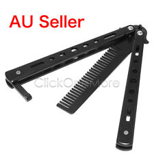 Butterfly Practice Training Tool Folding Stainless Steel Knife Comb Black