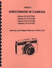 Ansco Anscomark M Camera Service, Repair Manual & Parts List Reprint