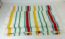 Set Of Four Woven Place Mats Stripe White Red Green Blue