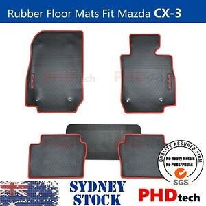 All Weather Rubber Car Floor Mats fit Mazda CX-3 Tailored  2015-2021 RED Trim