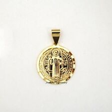 14k Gold Plated Saint Benedict San Benito Coin Charm Medal Pendant