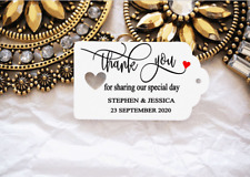 10 White Gift Tags Wedding Favour Bomboneire Thank you for sharing Personalised