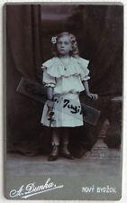 CDV PHOTO A. DUNKA à NOVY BYZOV enfant petite fille robe blanche G663