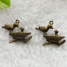 Free Ship 80 pcs  bronze plated bird charms 20x16mm #258